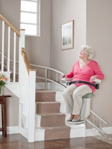 stannah 260 curved stairlift being used
