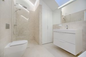 Cream mobility friendly Bathroom With Walk-In Shower